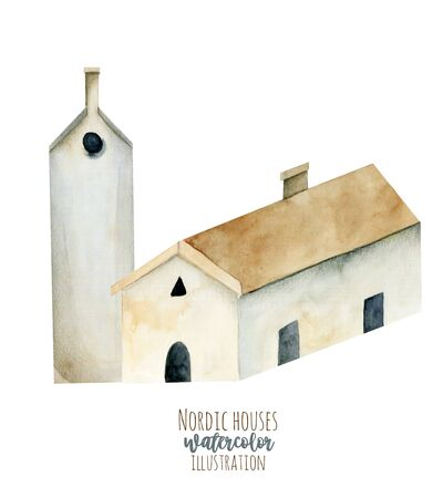 Watercolor european ancient architecture, nordic house, hand painted isolated on a white Zdjęcie Seryjne