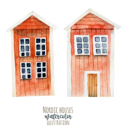 Watercolor red icelandic wooden houses, hand painted isolated on a white