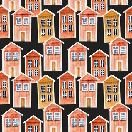 Seamless pattern of watercolor red icelandic wooden houses, hand painted on a dark