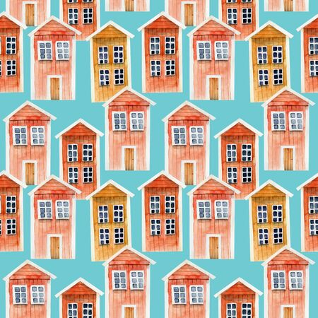 Seamless pattern of watercolor red icelandic wooden houses, hand painted on a blue