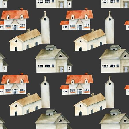 Seamless pattern of watercolor european ancient houses, hand painted on a dark