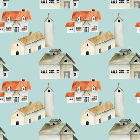 Seamless pattern of watercolor european ancient houses, hand painted on a blue Stok Fotoğraf