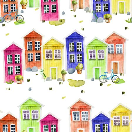 Seamless pattern of watercolor cute colorful nordic wooden houses, hand painted on a white
