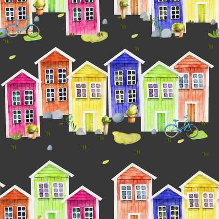 Seamless pattern of watercolor cute colorful nordic wooden houses, hand painted on a dark