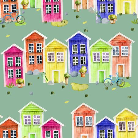 Seamless pattern of watecolor cute colorful nordic wooden houses, hand painted on a green Zdjęcie Seryjne