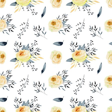Watercolor tea roses and blue branches seamless pattern, hand painted on a white background Фото со стока