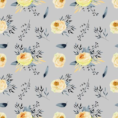 Watercolor tea roses and blue branches seamless pattern, hand painted on a gray background