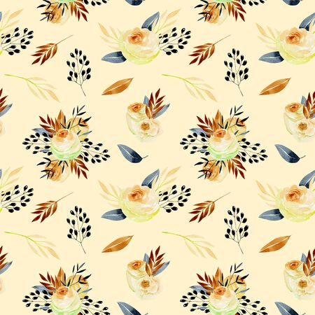 Watercolor tea roses and blue branches seamless pattern, hand painted on a tender beige background