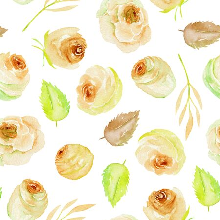 Watercolor tea roses and leaves seamless pattern, hand painted on a white background Фото со стока