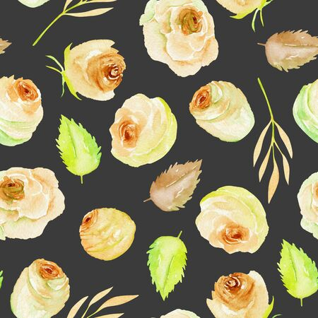 Watercolor tea roses and leaves seamless pattern, hand painted on a dark background Фото со стока