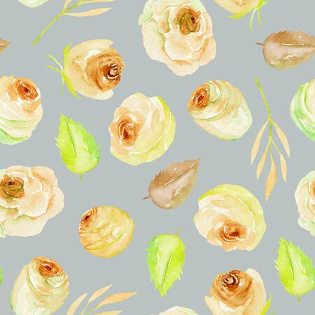 Watercolor tea roses and leaves seamless pattern, hand painted on a gray background Фото со стока