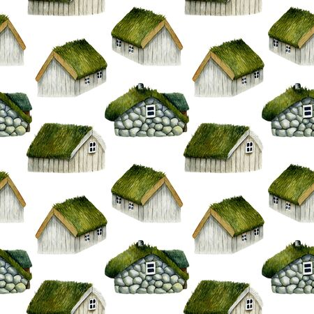 Seamless pattern of watercolor norwegian houses with grass roof, nordic houses, hand drawn on a white background