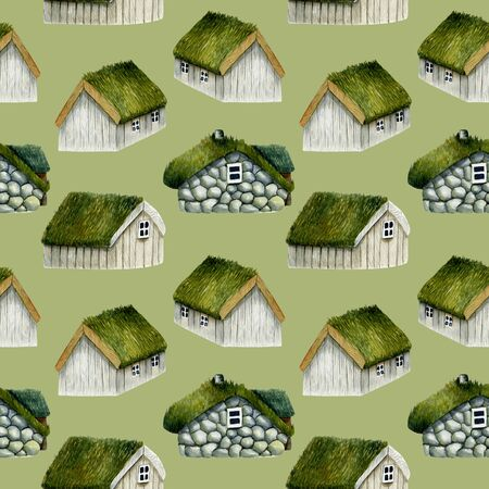 Seamless pattern of watercolor norwegian houses with grass roof, nordic houses, hand drawn on a green background
