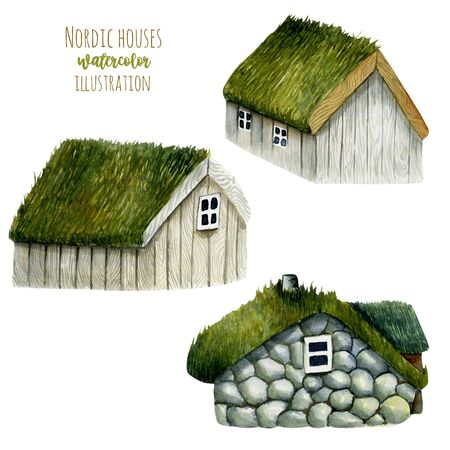 Collection of watercolor norwegian houses with grass roof, nordic houses, hand drawn isolated on a white background