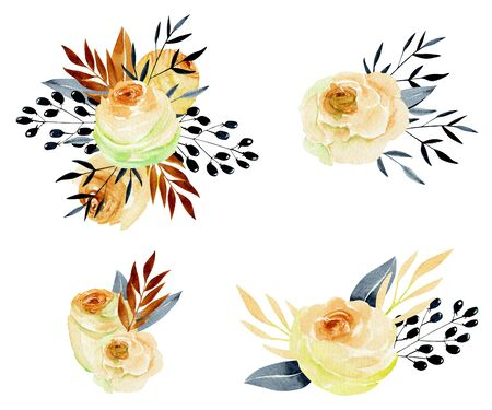Watercolor tea roses bouquets collection, isolated posies set, hand painted on a white background