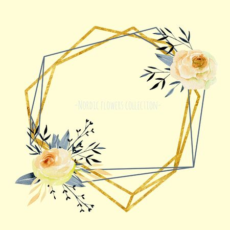 Geometric golden frame with watercolor roses bouquets, hand painted on a beige background, wedding or other card design, autumn style Фото со стока