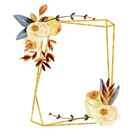 Geometric golden frame with watercolor roses bouquets, hand painted on a white background, wedding or other card design, autumn style
