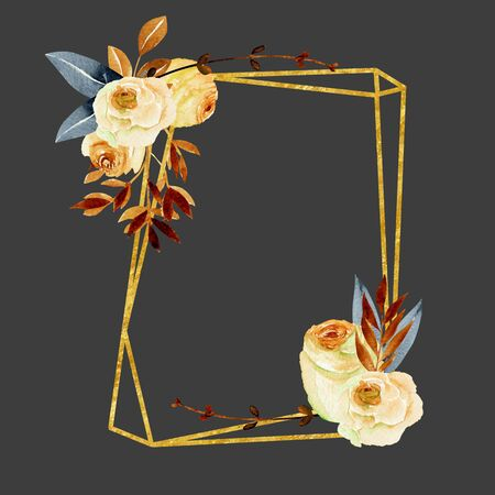 Geometric golden frame with watercolor roses bouquets, hand painted on a dark background, wedding or other card design, autumn style Фото со стока