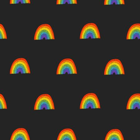 Seamless pattern of hand drawn rainbow to St. Patricks Day celebration and onthe design, hand drawn on a dark background Фото со стока