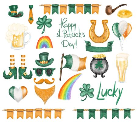 Collection of St. Patricks Day elements, hand drawn isolated on a white background