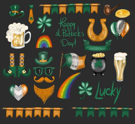 Collection of St. Patricks Day elements, hand drawn isolated on a dark background