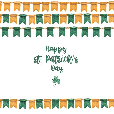 Greeting card template of irish colors flags to St. Patricks Day celebration, hand drawn on a white background Zdjęcie Seryjne