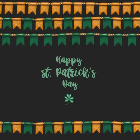 Greeting card template of irish colors flags to St. Patricks Day celebration, hand drawn on a dark background