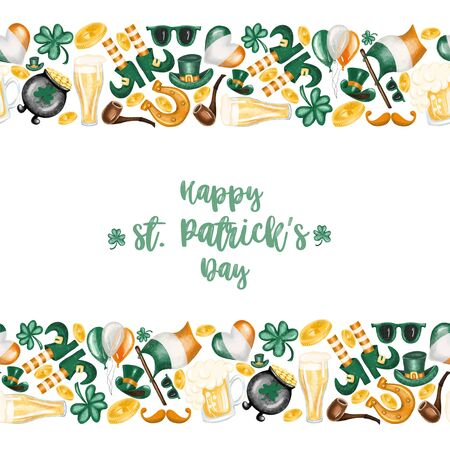 Card template with borders of elements to St. Patricks Day celebration, hand drawn on a white background