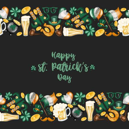 Card template with borders of elements to St. Patricks Day celebration, hand drawn on a dark background