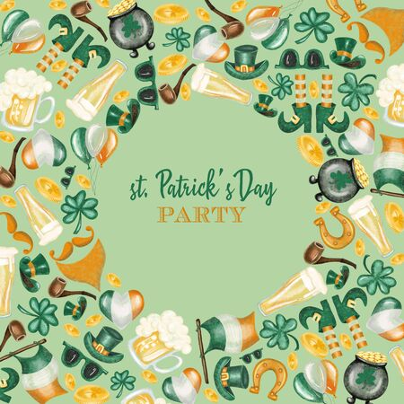 Round frame of elements to St. Patricks Day celebration, hand drawn on a green background