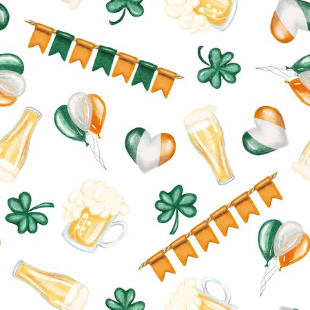 Seamless pattern of St. Patricks Day elements (beer, irish colors and shamrock), hand drawn on a white background Zdjęcie Seryjne