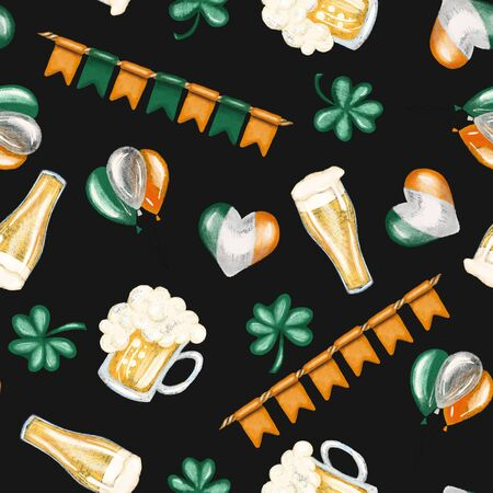 Seamless pattern of St. Patricks Day elements (beer, irish colors and shamrock), hand drawn on a dark background