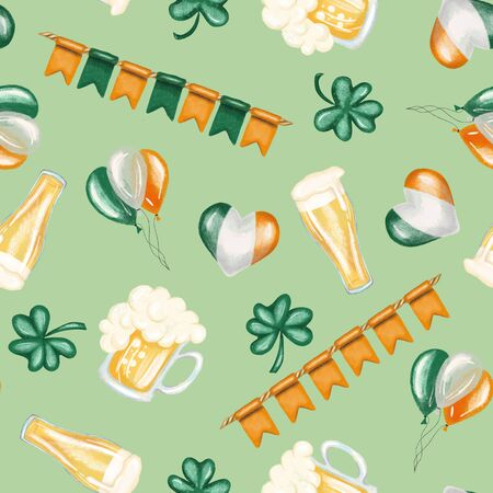 Seamless pattern of St. Patricks Day elements (beer, irish colors and shamrock), hand drawn on a green background