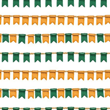 Seamless pattern of irish colors flags to St. Patricks Day celebration, hand drawn on a white background Zdjęcie Seryjne