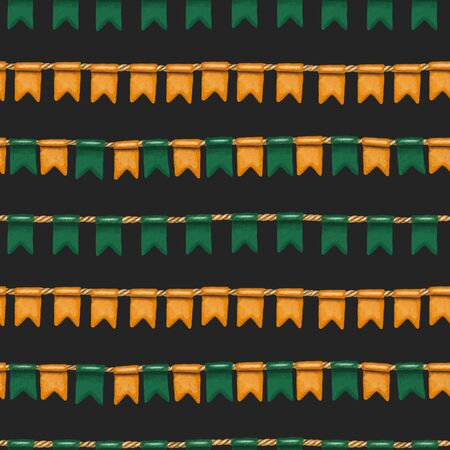 Seamless pattern of irish colors flags to St. Patricks Day celebration, hand drawn on a dark background