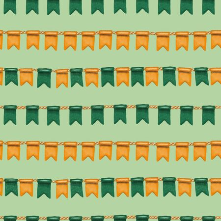 Seamless pattern of irish colors flags to St. Patricks Day celebration, hand drawn on a green background