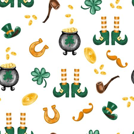 Seamless pattern of St. Patricks Day elements, hand drawn on a white background