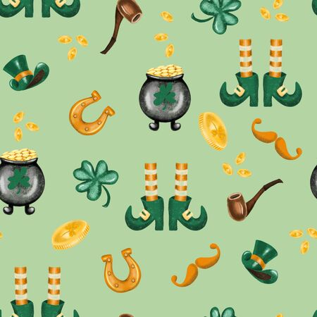Seamless pattern of St. Patricks Day elements, hand drawn on a green background Zdjęcie Seryjne