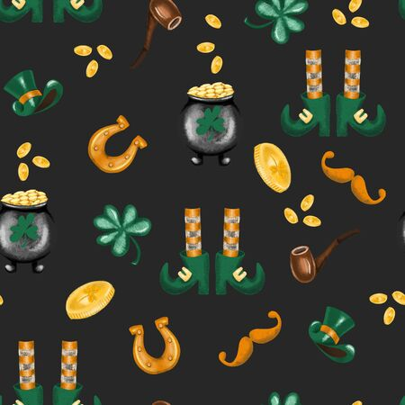 Seamless pattern of St. Patricks Day elements, hand drawn on a dark background Zdjęcie Seryjne