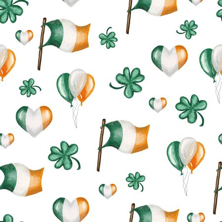 Seamless pattern of irish colors flags, air ballos and clover leaves to St. Patricks Day celebration, hand drawn on a white background Zdjęcie Seryjne