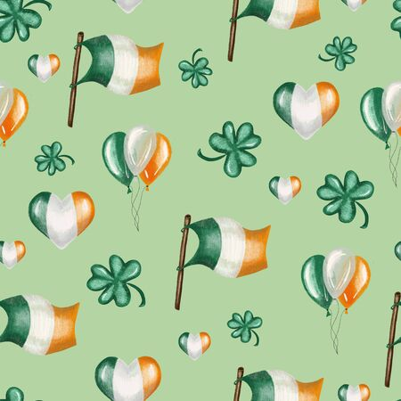 Seamless pattern of irish colors flags, air ballos and clover leaves to St. Patricks Day celebration, hand drawn on a green background