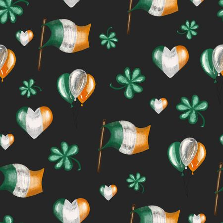 Seamless pattern of irish colors flags, air ballos and clover leaves to St. Patricks Day celebration, hand drawn on a dark background Zdjęcie Seryjne