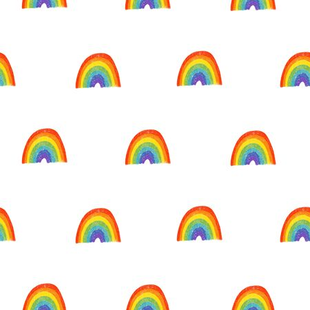 Seamless pattern of hand drawn rainbow to St. Patricks Day celebration and onthe design, hand drawn on a white background