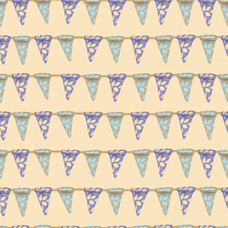Seamless pattern of floral hanging flags