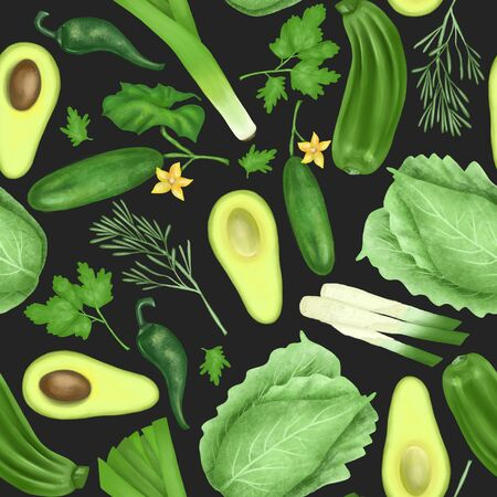 Seamless pattern with green organic vegetables and herbs (avocado, cucumber, zucchini, leek, cabbage, parsley, rosemary), hand drawn on a dark background