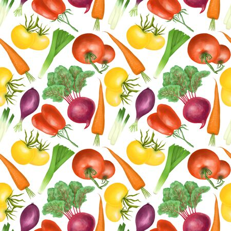 Seamless pattern with red and yellow organic vegetables and herbs (tomatos, carrot, beetroot, purple onion), hand drawn on a white background