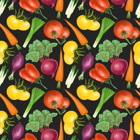 Seamless pattern with red and yellow organic vegetables and herbs (tomatos, carrot, beetroot, purple onion), hand drawn on a dark background