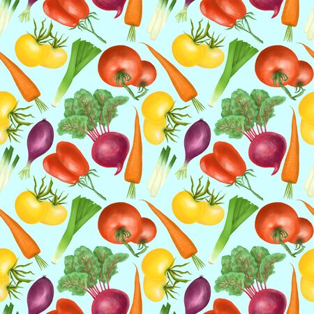 Seamless pattern with red and yellow organic vegetables and herbs (tomatos, carrot, beetroot, purple onion), hand drawn on a bright blue background 스톡 콘텐츠