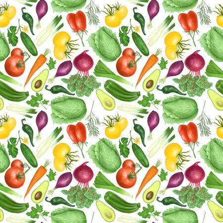 Seamless pattern with organic vegetables (tomatos, carrot, beetroot, purple onion, avocado, cucumber, zucchini, leek, cabbage, parsley, rosemary), hand drawn on a white background 스톡 콘텐츠