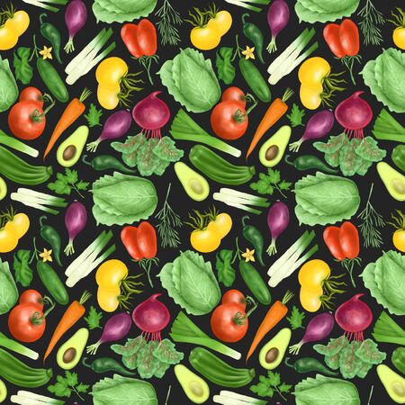 Seamless pattern with organic vegetables (tomatos, carrot, beetroot, purple onion, avocado, cucumber, zucchini, leek, cabbage, parsley, rosemary), hand drawn on a dark background 스톡 콘텐츠